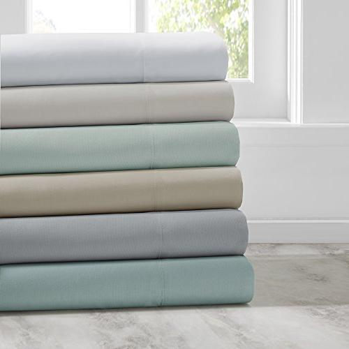 Smart Cool Bed Sheets Set - Wicking Bedding - Queen Sheets Blue Fitted Sheet and 2 Pillow Cases