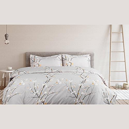 Bedsure Spring Bedding Set Full/Queen Cover Grey Modern Soft Hypoallergenic Microfiber