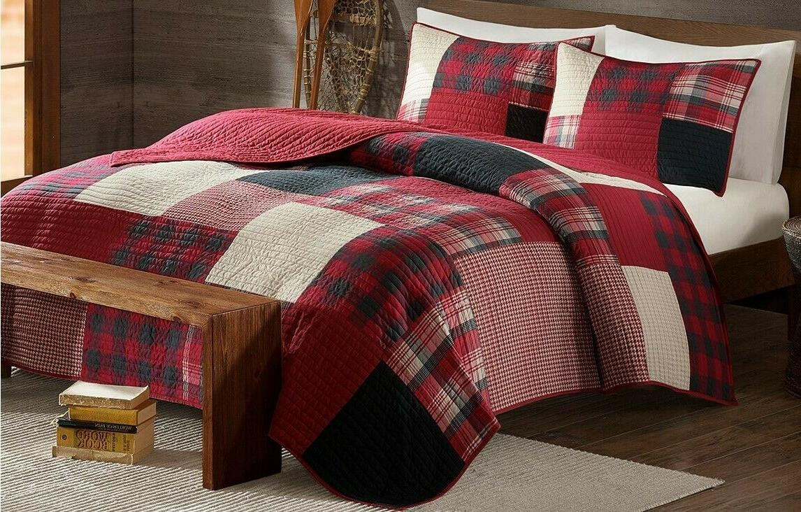 SUNSET Full / Queen QUILT SET : RED BUFFALO CHECK PLAID LODG