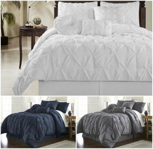 sydney pinched pleat pintuck bedding comforter set