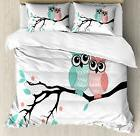 Teal and White Duvet Cover Set with Pillow Shams Cute Owl Co