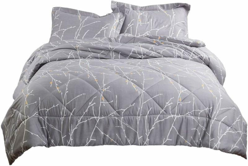 Bedsure Branch Comforter Set Grey Down Alternative