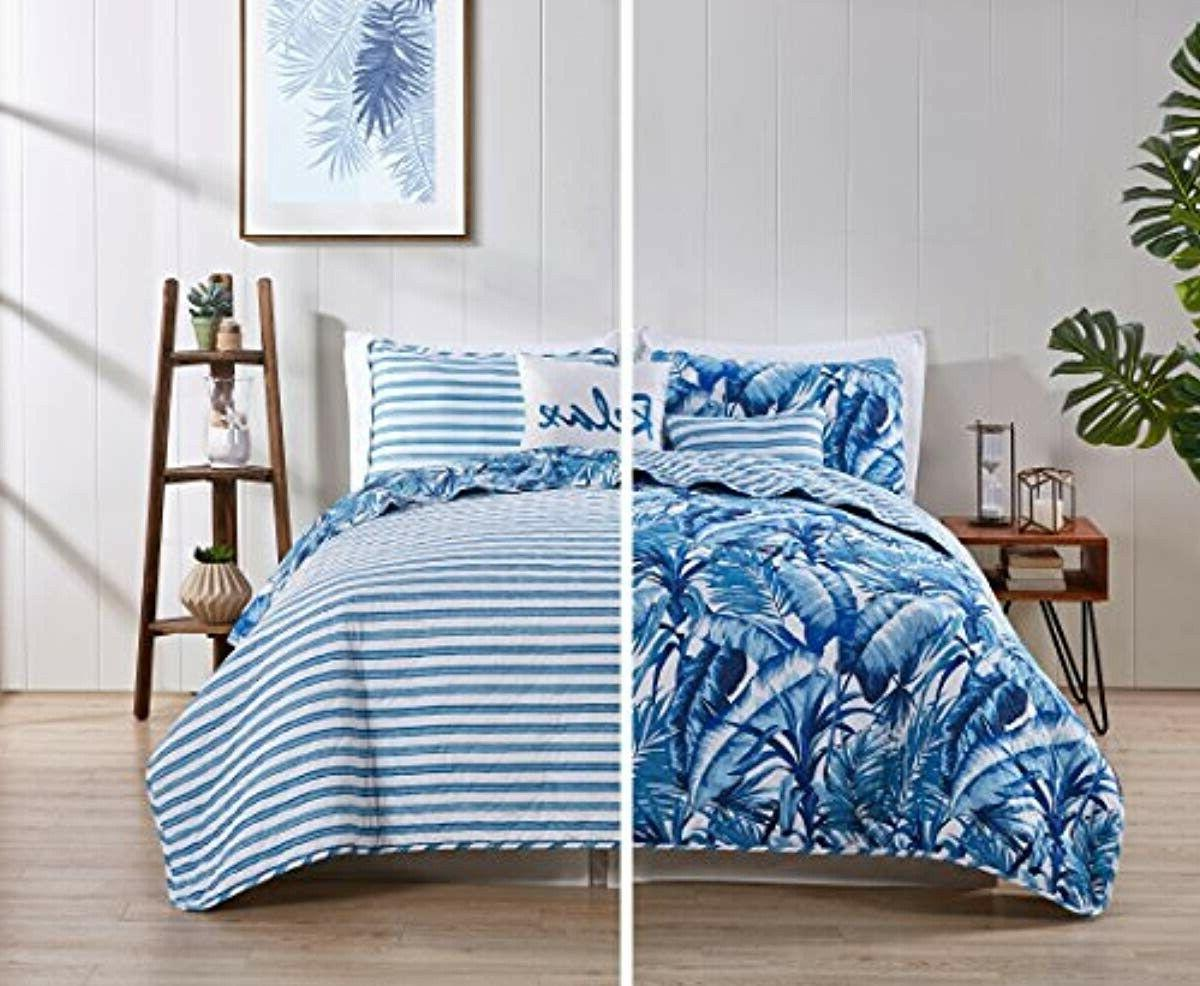 tropical bedding quilt set full queen blue
