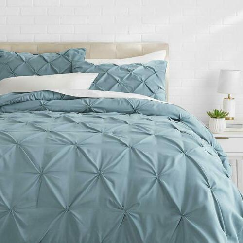 Twin Full Queen Cal King Solid Spa Blue Pintuck Pleat 3 pc C
