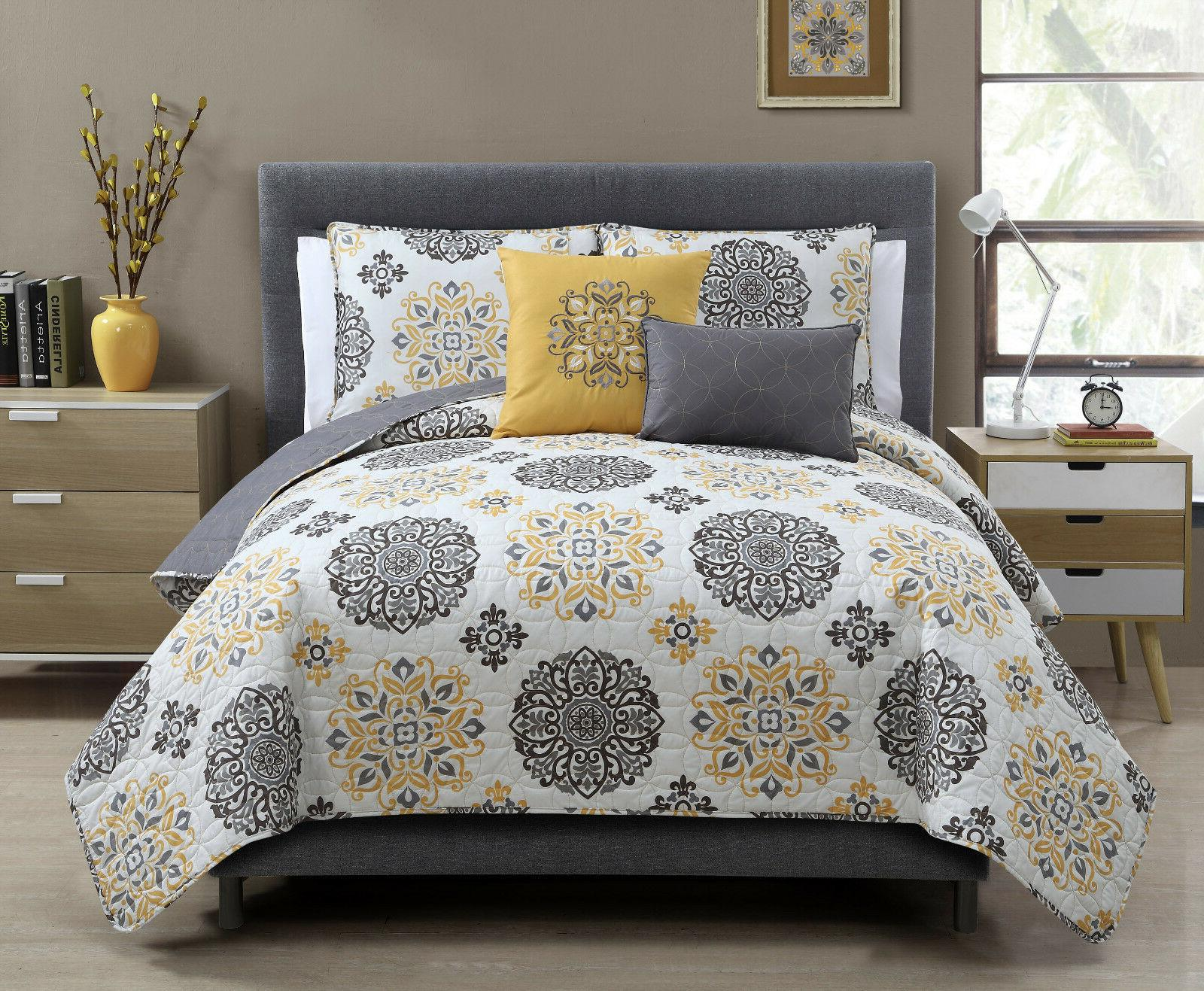 VCNY Home Hayden Yellow & Gray Medallion 5 Pc. Reversible Qu