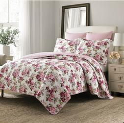 Laura Ashley Lidia Cotton Quilt Set, Full/Queen