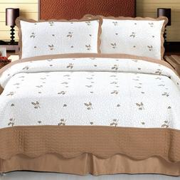 Lavish Home Peyton Embroidered 3-Piece Quilt Set, Full/Queen