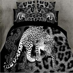 Leopard 4Pcs Animal Print Duvet Cover Comforter Queen Size B