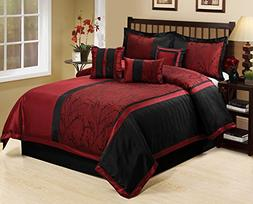 7 Piece LETICIA Tree Branches jacquard Burgundy Black Comfor