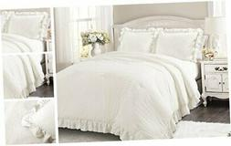 Lush Decor Reyna Comforter White Ruffled 3 Piece Set with Pi