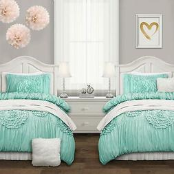 Lush Decor Serena Comforter Aqua Ruched Flower 2 Piece Set,
