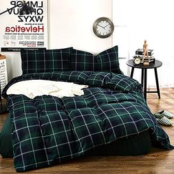 Geometric Green Plaid Pattern Duvet Cover Set Queen Size Bru