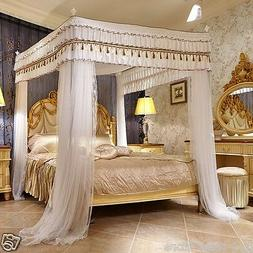 Luxury canopy for bed drapes mosquito net with 4 corner fram