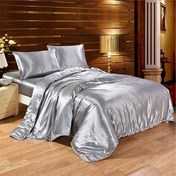 Luxury Classic Silky Satin 3-Piece Duvet Cover Set with 2 En