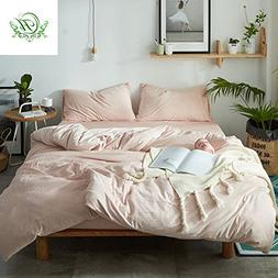 LifeTB ON SALE Luxury Duvet Cover Set Queen Size Solid Pink