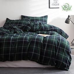Luxury Green Plaid Queen Duvet Cover Set Hotel Quality Cotto