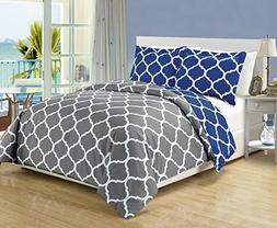 3 piece Luxury Grey / Navy Blue Reversible Quatrefoil Down A