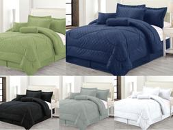Luxury Hotel 7-Pc Comforter Set Embossed Solid Bedding King