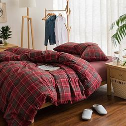 HIGHBUY Luxury Plaid Pattern Duvet Cover Set Queen for Kids