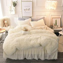LIFEREVO Luxury Plush Shaggy Duvet Cover Set  Solid, Zipper