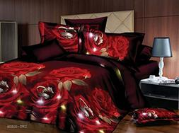 Bednlinens Luxury 4 Piece Sheet Set 3d Rose and Rings Print