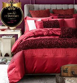 AMWAN ON SALE Luxury Solid Red Duvet Cover Set Queen Full Si
