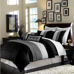 Luxury Stripe Bedding Black Grey and White Queen Size 8 Piec