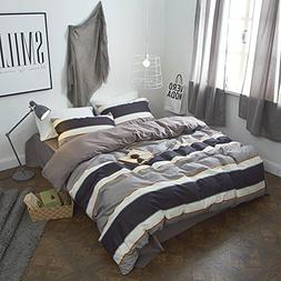 AMWAN ON SALE 3 Piece Luxury Striped Bedding Duvet Cover Set