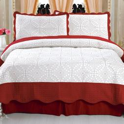 Lavish Home Lydia Embroidered 3-Piece Quilt Set, Full/Queen