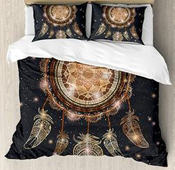 Ambesonne Mandala Duvet Cover Set Queen Size, Native America