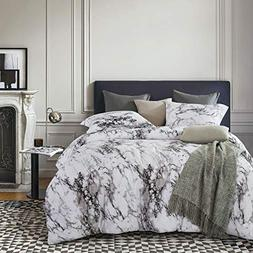 Wake In Cloud - Marble Duvet Cover Set, Black White and Gray