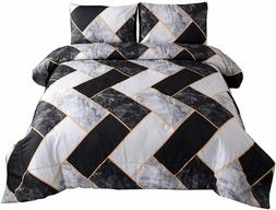 Marble Geometry Pattern Bedding Set Black Grey Abstract Quee