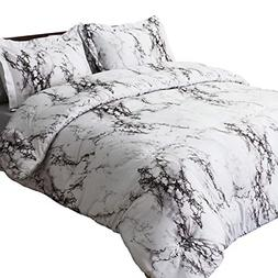 Bedsure Marble Printed Comforter Set Full/Queen, White - 3-P