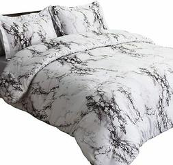 marble printed comforter set full queen white