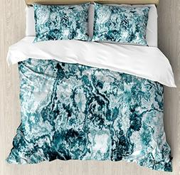 Ambesonne Marble Duvet Cover Set Queen Size, Abstract Rock T