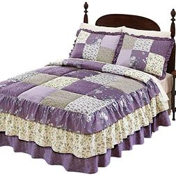 Collections Etc Melina Patchwork Quilted Bedspread, Lavender
