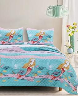 Greenland Home Mermaid Quilt Set, 3-Piece Full/Queen