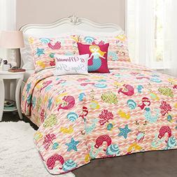 Lush Decor Lush Décor Mermaid Waves 5Piece Quilt Set, Full/