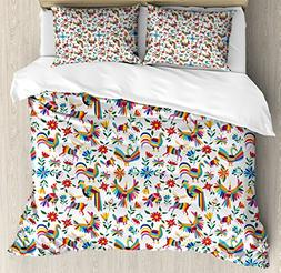 Ambesonne Mexican Duvet Cover Set Queen Size, Traditional La