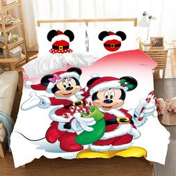 mickey minnie christmas santa claus bedding font