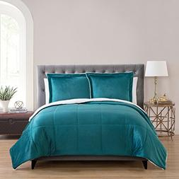 VCNY Home Micro Mink Sherpa 3-piece Comforter Set Teal Queen
