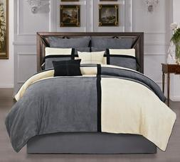 Hudson Street 8 Piece Micro Suede Comforter Duvet Cover Set,