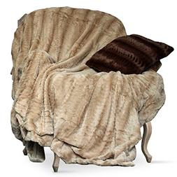 Swift Home Embossed Faux Fur Throw Blanket & Bedspread - Lux