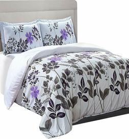 Printed Duvet Cover Set with 2 Pillow Shams Queen Floral Who