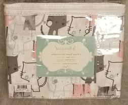 Microfiber Sheet Set TWIN Kitty Luv Gray Pink Blue Whimsical