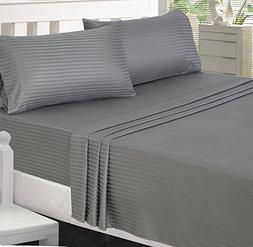 Utopia Bedding Microfiber Striped Bed Sheet Set with Deep Po