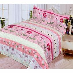 Mk Collection 3 Pc Bedspread Teens/girls Pink Floral New  Ho