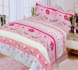 Mk Collection 3 Pc Bedspread Teens/girls Pink Floral New