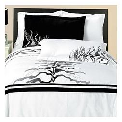 Modern Black and White Vines Embroidered Cotton Bedding Duve