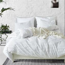 Modern Concise Style Duvet Bedding Sets Small Square Quilt C